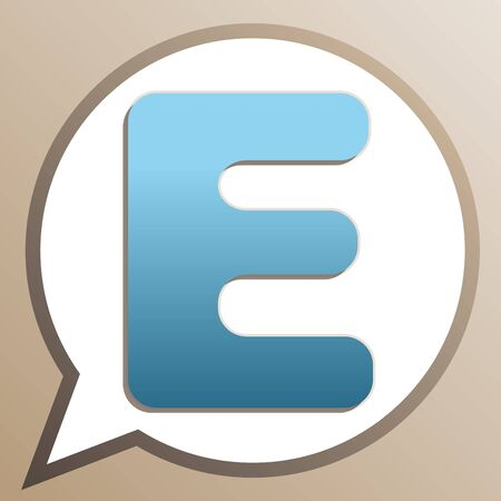 Letter E sign design template element. Bright cerulean icon in white speech balloon at pale taupe background.