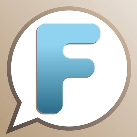 Letter F sign design template element. Bright cerulean icon in white speech balloon at pale taupe background. Ilustrace