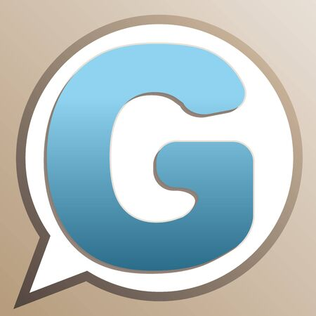 Letter G sign design template element. Bright cerulean icon in white speech balloon at pale taupe background.