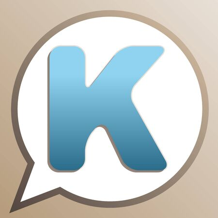 Letter K sign design template element. Bright cerulean icon in white speech balloon at pale taupe background.