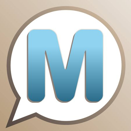 Letter M sign design template element. Bright cerulean icon in white speech balloon at pale taupe background.  イラスト・ベクター素材