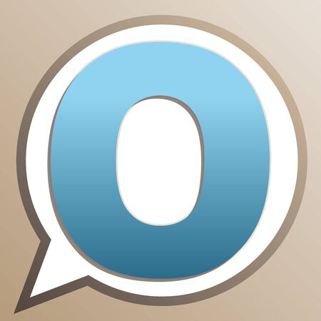 Letter O sign design template element. Bright cerulean icon in white speech balloon at pale taupe background. Ilustrace