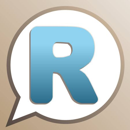 Letter R sign design template element. Bright cerulean icon in white speech balloon at pale taupe background.