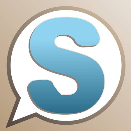 Letter S sign design template element. Bright cerulean icon in white speech balloon at pale taupe background. Ilustrace