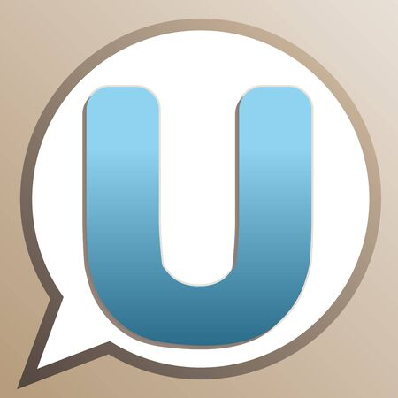 Letter U sign design template element. Bright cerulean icon in white speech balloon at pale taupe background. Ilustrace