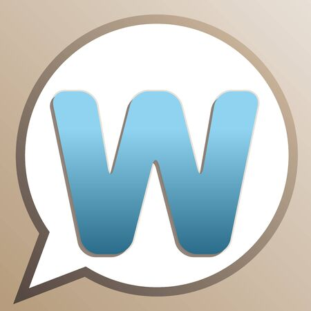 Letter W sign design template element. Bright cerulean icon in white speech balloon at pale taupe background.