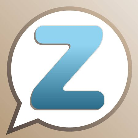 Letter Z sign design template element. Bright cerulean icon in white speech balloon at pale taupe background.