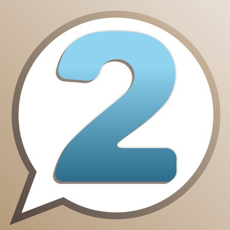 Number 2 sign design template elements. Bright cerulean icon in white speech balloon at pale taupe background.
