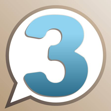 Number 3 sign design template element. Bright cerulean icon in white speech balloon at pale taupe background. Ilustrace