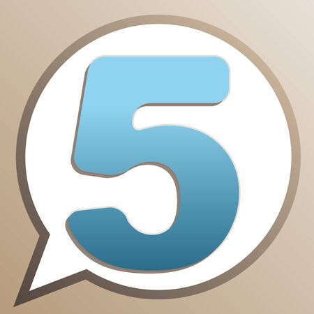 Number 5 sign design template element. Bright cerulean icon in white speech balloon at pale taupe background. Ilustrace