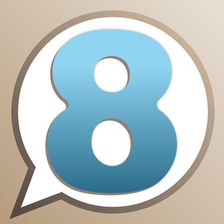 Number 8 sign design template element. Bright cerulean icon in white speech balloon at pale taupe background.