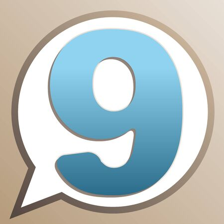 Number 9 sign design template element. Bright cerulean icon in white speech balloon at pale taupe background.
