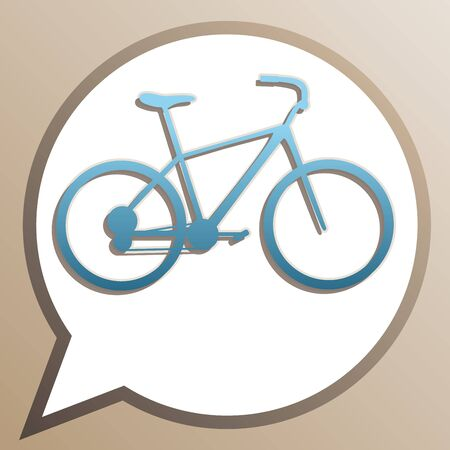Bicycle, Bike sign. Bright cerulean icon in white speech balloon at pale taupe background.