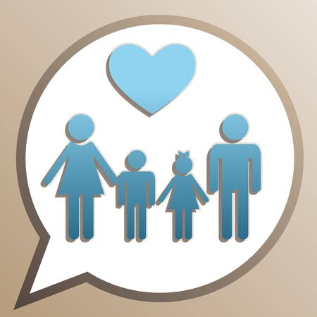 Family with heart. Husband, wife with childrens. Bright cerulean icon in white speech balloon at pale taupe background.