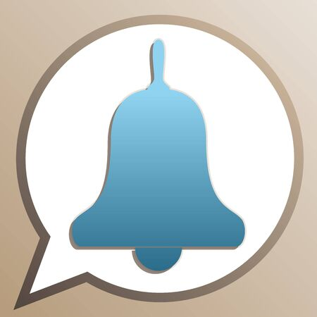 Bell Alarm, hand bell sign. Bright cerulean icon in white speech balloon at pale taupe background. Ilustrace
