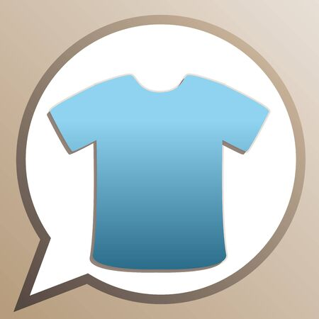 T-shirt sign. Bright cerulean icon in white speech balloon at pale taupe background.