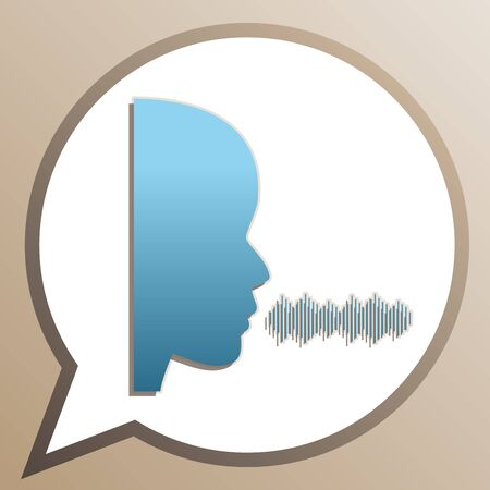 People speaking or singing sign. Bright cerulean icon in white speech balloon at pale taupe background. Ilustrace