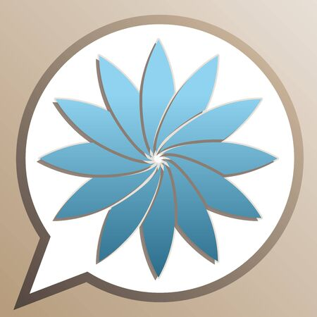 Flower sign. Bright cerulean icon in white speech balloon at pale taupe background.  イラスト・ベクター素材