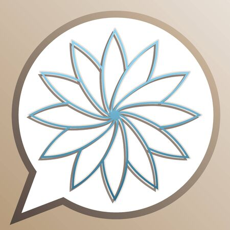 Flower sign. Bright cerulean icon in white speech balloon at pale taupe background. Ilustrace