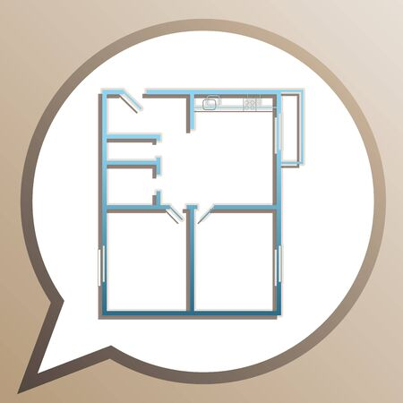 Apartment house floor plans. Bright cerulean icon in white speech balloon at pale taupe background.