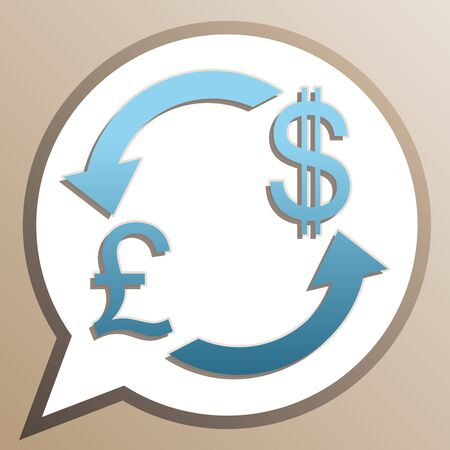 Currency exchange sign. UK: Pound and US Dollar. Bright cerulean icon in white speech balloon at pale taupe background.