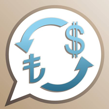 Currency exchange sign. Turkey Lira and US Dollar. Bright cerulean icon in white speech balloon at pale taupe background.