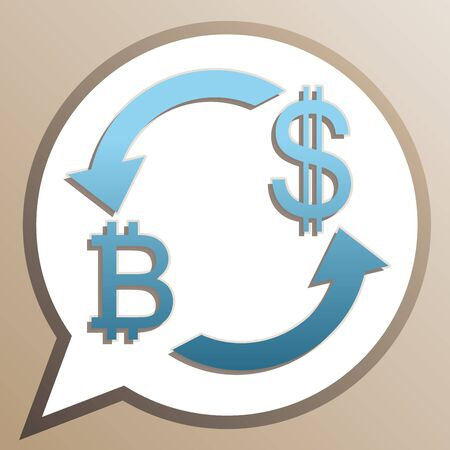 Currency exchange sign. Bitcoin and US Dollar. Bright cerulean icon in white speech balloon at pale taupe background.
