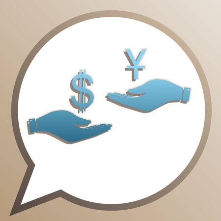 Currency exchange from hand to hand. Dollar and Yuan. Bright cerulean icon in white speech balloon at pale taupe background.