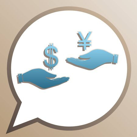 Currency exchange from hand to hand. Dollar and Yen. Bright cerulean icon in white speech balloon at pale taupe background.