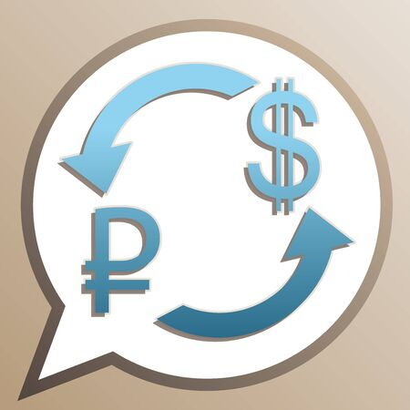 Currency exchange sign. Ruble and US Dollar. Bright cerulean icon in white speech balloon at pale taupe background.