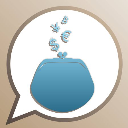 Wallet sign with currency symbols. Bright cerulean icon in white speech balloon at pale taupe background.