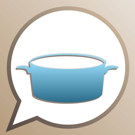 Pan sign. Bright cerulean icon in white speech balloon at pale taupe background.