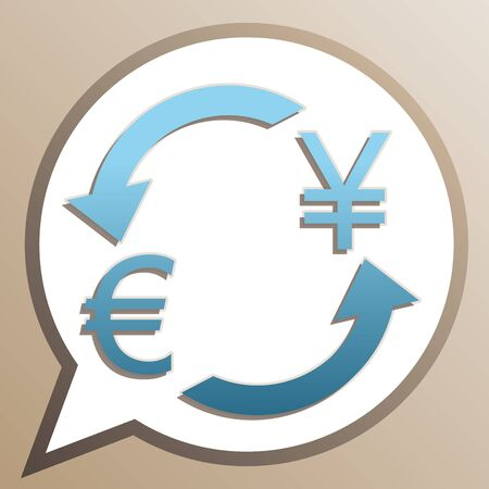 Currency exchange sign. Euro and Japan Yen. Bright cerulean icon in white speech balloon at pale taupe background.  イラスト・ベクター素材