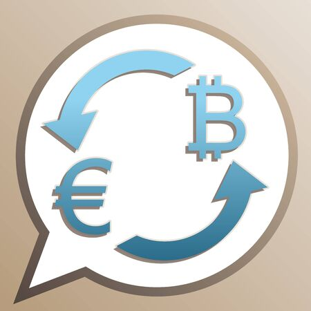 Currency exchange sign. Euro and Bitcoin. Bright cerulean icon in white speech balloon at pale taupe background.