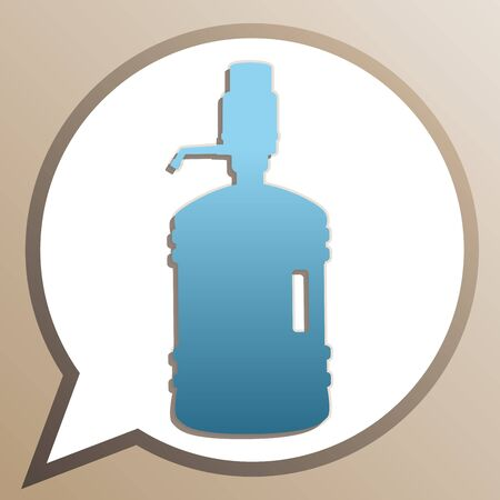 Plastic bottle silhouette with water and siphon. Bright cerulean icon in white speech balloon at pale taupe background. Illusztráció