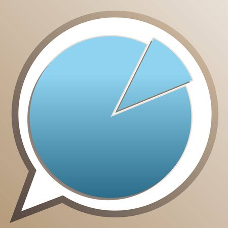 Finance graph sign. Bright cerulean icon in white speech balloon at pale taupe background.