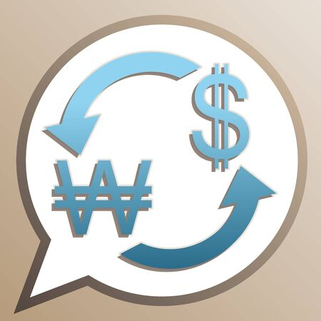 Currency exchange sign. South Korea Won and US Dollar. Bright cerulean icon in white speech balloon at pale taupe background.