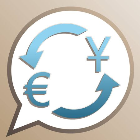Currency exchange sign. Dollar and Euro. Bright cerulean icon in white speech balloon at pale taupe background. Ilustrace