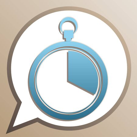 The  stopwatch sign. Bright cerulean icon in white speech balloon at pale taupe background.