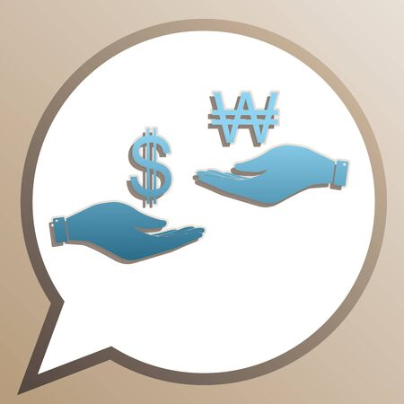 Currency exchange from hand to hand. Dollar and Won. Bright cerulean icon in white speech balloon at pale taupe background.