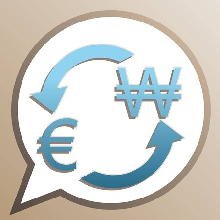 Currency exchange sign. Euro and South Korea Won. Bright cerulean icon in white speech balloon at pale taupe background.
