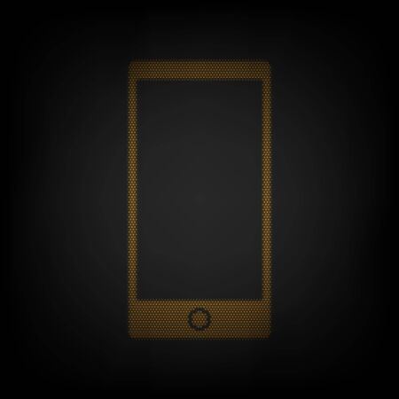 Modern gadget with blank screen. Icon as grid of small orange light bulb in darkness. Illustration