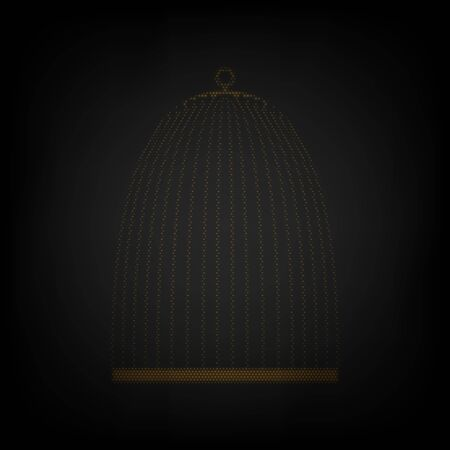 Bird cage sign. Icon as grid of small orange light bulb in darkness.