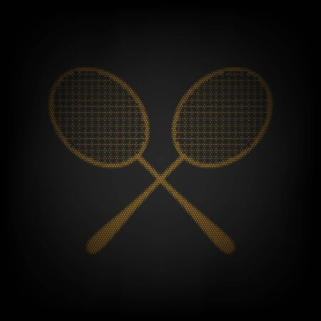 Two tennis racket sign. Icon as grid of small orange light bulb in darkness.