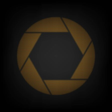 Photo sign illustration. Icon as grid of small orange light bulb in darkness. 向量圖像