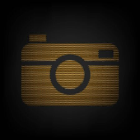 Digital photo camera sign. Icon as grid of small orange light bulb in darkness.
