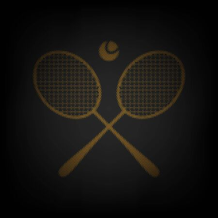 Two tennis racket with ball sign. Icon as grid of small orange light bulb in darkness. Ilustração
