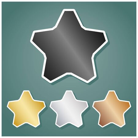Star sign. Set of metallic Icons with gray, gold, silver and bronze gradient with white contour and shadow at viridan background.
