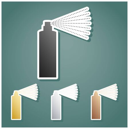 Bottle spray sign. Set of metallic Icons with gray, gold, silver and bronze gradient with white contour and shadow at viridan background.