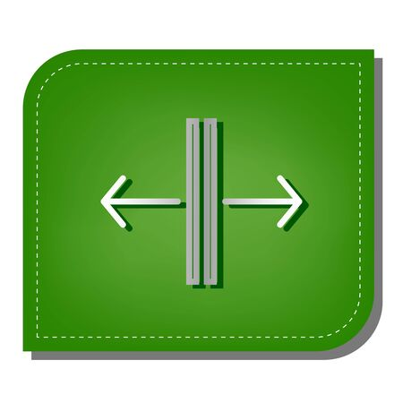 Sliding door, automatic door sign. Silver gradient line icon with dark green shadow at ecological patched green leaf.